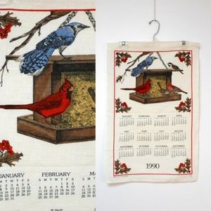 VTG 1990 birds linen calendar . made in USA